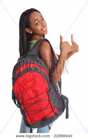 Positive Thumbs Up By African American School Girl