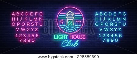 Night Club Lighthouse Neon Sign. Lighthouse Logo In Neon Style, Symbol, Design Template For Nightclu