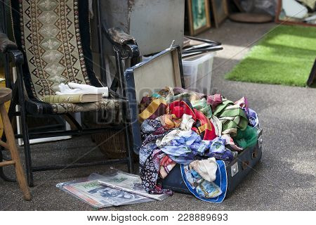 London, England - September 11, 2017 Antique Market In The Spitalfields Market Is Traditionally Held