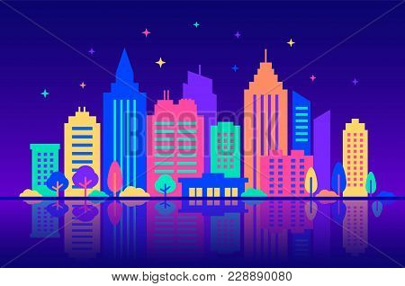 Night City. Silhouettes Of Buildings With Neon Glow And Vivid Colors At Night. City Landscape Templa