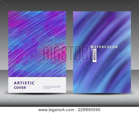Artistic Cover Design Template, Watercolor Texture
