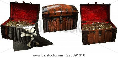 Pirate Treasure Chests With A Pirate Flag 3d Illustration