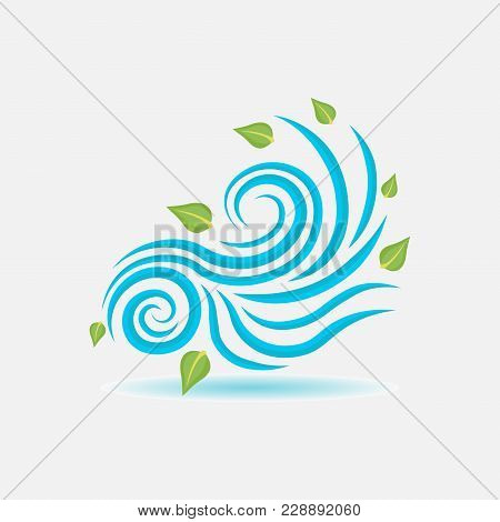 Wind Sign, Wind Blows Leaves, Flat Style, Vector Image