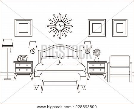 Room Interior. Hotel Bedroom With Bed. Vector. Linear Illustration. Retro House In Flat Design. Vint