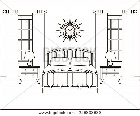 Room Interior. Hotel Bedroom With Bed And Windows. Vector. Linear Illustration. Retro House In Flat