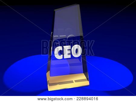 CEO Award Chief Executive Officer Prize Top Best Job 3d Illustration