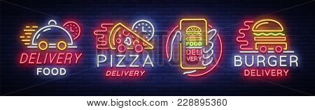 Food Delivery Set Neon Signs. Logotype Collection In Neon Style, Light Banner, Bright Night Advertis