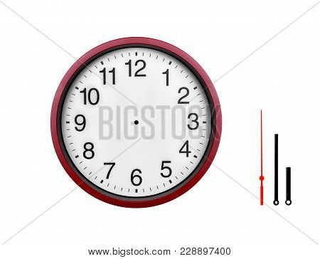 Red Wall Clock Isolated On White Background. Arrows Of A Clock On A White Background, For The Possib