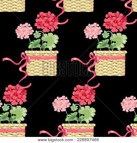 Black Background With Geranium Flowers. Seamless Pattern. Illustration Victorian Style. Vintage. Vec