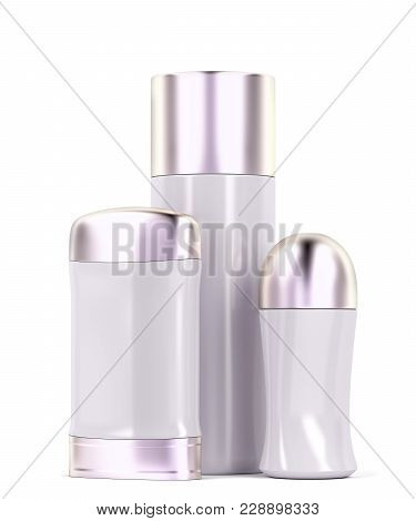 Roll-on, Body Spray And Stick Antiperspirant Deodorants On White Background. 3d Illustration