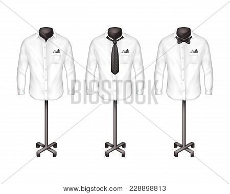 Vector Set Of White Shirts With Tie, Bow-tie On Stands, Hangers In Front View. Atelier, Boutique, Wa