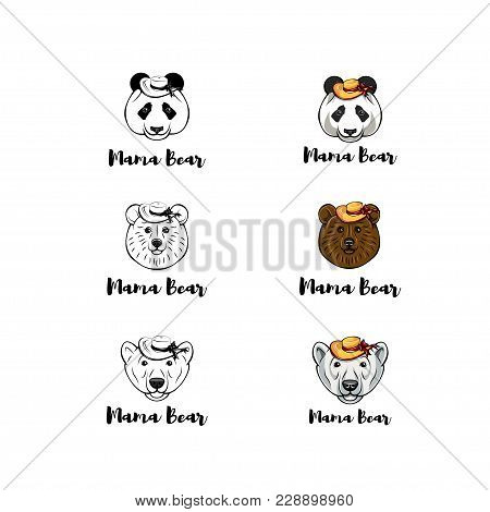 Greetings Card Design For Mothers Day Set. Bear Mama. Vector Illustration. White Bear, Panda, Brown