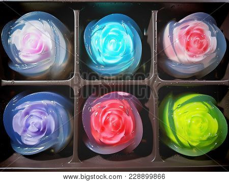 Full Frame Colorful Flower Shape Gelatin Dessert