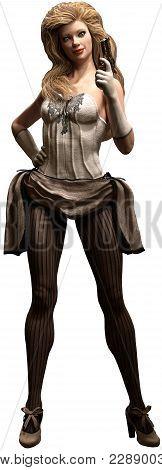 Wild West Saloon Dancer With Derringer 3d Illustration