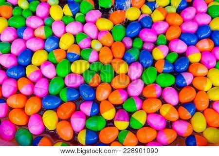 Plastic Multi-colored Balls. Many Colored Plastic Multi-colored Balls
