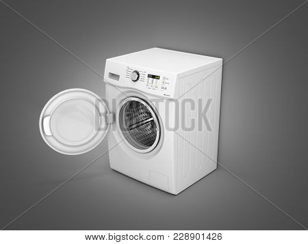 Washing Machine With An Open Door On Grey Gradient Background 3d Illustration
