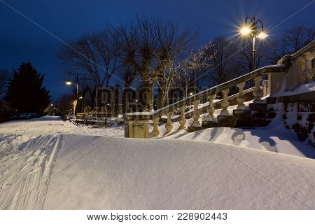 Snow Landscape In Burgas Sea Garden, Near The Culture Center Sea Casino At Blue Hour. Winter Sunset