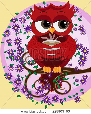 Cute Beautiful Flirtatious Red Owl On A Branch With A Cup Of Steaming Coffee, Tea Or Chocolate