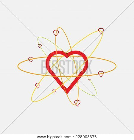 Heart Icon, Love Atoms, Constituent Emotion, Atomic Heart Structure, Flat Style, Vector Image