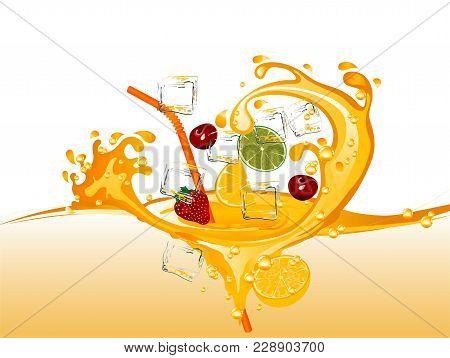 Fruit Juice With Orange, Strawberry And Cherries