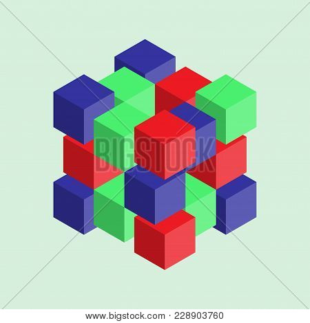 Abstract Image With Cubes, Colorful Cubes, 3d Composition, Vector Image