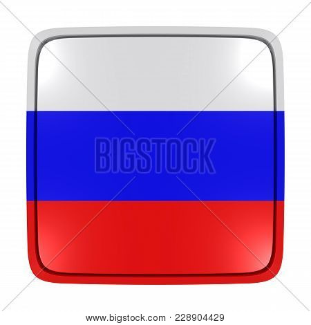 3d Rendering Of A Russian Federation Flag Icon. Isolated On White Background.