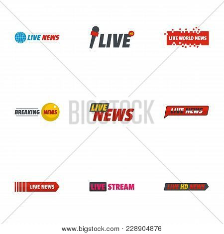News Broadcast Icons Set. Flat Set Of 9 News Broadcast Vector Icons For Web Isolated On White Backgr