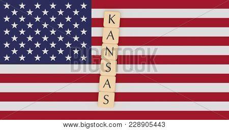 Us States Concept: Letter Tiles Kansas On Usa Flag, 3d Illustration