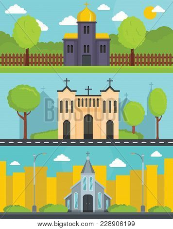 Church Building Banner Concept Set. Flat Illustration Of 3 Church Building World Vector Banner Horiz