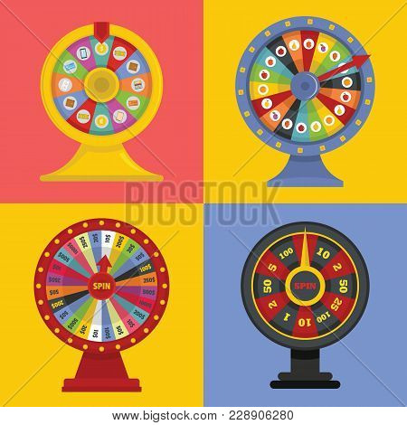 Spin Wheel Banner Concept Set. Flat Illustration Of 4 Spin Wheel World Vector Banner Square Concepts