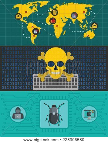 Cyber Attack World Banner Concept Set. Flat Illustration Of 3 Cyber Attack World World Vector Banner