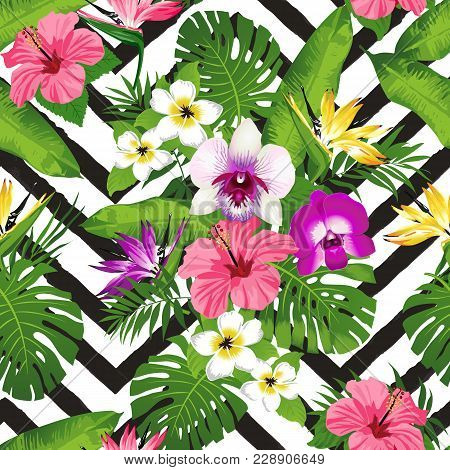 Tropical Flowers And Palm Leaves Zig Zag Background. Seamless. Vector.