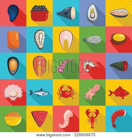 Seafood Fresh Fish Food Icons Set. Flat Illustration Of 25 Seafood Fresh Fish Food Vector Icons For