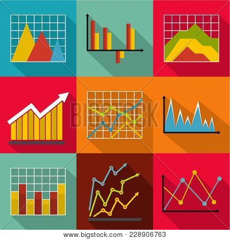 Economic Course Icons Set. Flat Set Of 9 Economic Course Vector Icons For Web Isolated On White Back