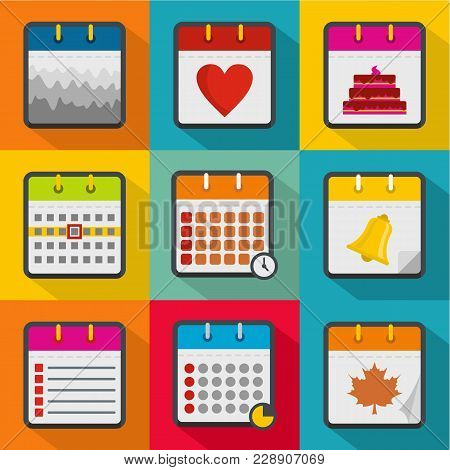 Organizer Icons Set. Flat Set Of 9 Organizer Vector Icons For Web Isolated On White Background