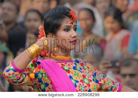 Kolkata , India - March 12, 2017: Beautiful Young Girl With Spring Festive Make Up With Flowers , Jo