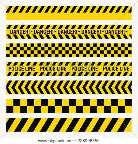 Black Yellow Ribbons, Danger Baricade, Police Crime, Dangerous Area Fence, Flat Style, Vector Image