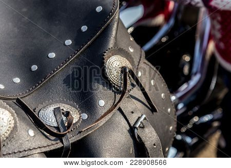 Leather Biker Bag On A Motorcycle Close-up.