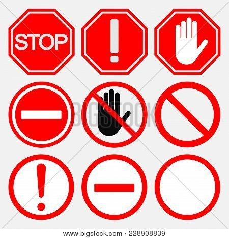 Set Of Road Stop Signs, Safety On The Road, Notifying And Prohibiting Signs, Flat Style, Image
