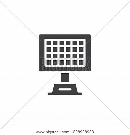 Solar Panel Vector Icon. Filled Flat Sign For Mobile Concept And Web Design. Eco Energy Simple Solid