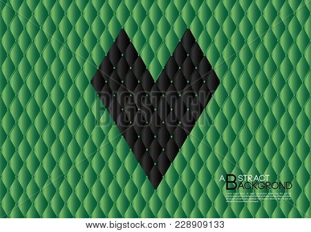Green Abstract Background Vector Illustration, Cover Template Layout, Business Flyer, Leather Textur