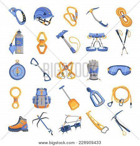 Mountaineering Equipment Icons Set. Cartoon Illustration Of 16 Mountaineering Equipment Vector Icons