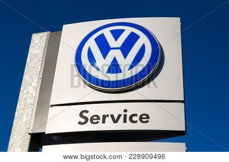 Prague, Czech Republic - March 31 2017: Volkswagen Service Car Maker Logo On A Dealership Building O