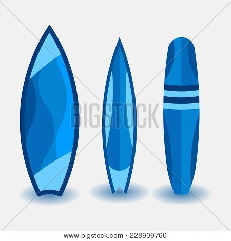 Set Of Surfboards, Design In A Flat Style, Water Sport, Illustration On A White Background, Vector I