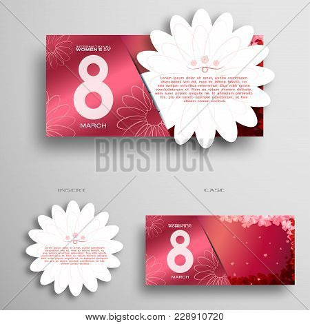 Vector Greeting Pink Envelope With Insert In The Form Of White Flower For 8 Of March - International