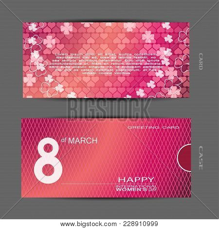 Greeting Gradient Pink Card With Heart And Flower Patern And Text, Red Case With Line Pattern Vector