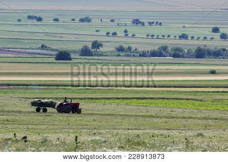 Beautiful Rural Scene In The Spring With A Vehicle Who Gathers Fodder, Dobrogea, Romania