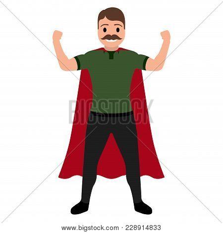 Isolated Superdad Cartoon Character. Vector Illustration Design