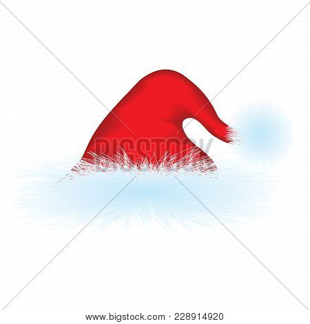 Red Cap With Realistic Fur - For Santa Claus, Father Frost - Isolated On White Background - Vector A