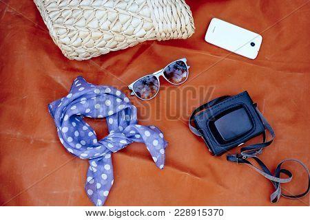 Female Accessories: Bag, Scarf, Sunglases, Smartphone And Camera